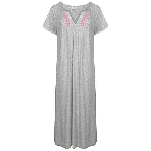 Ladies Plus Size Long Embroidered Jersey Nightdress. Black, Grey Marl, Raven, Purple, Burgandy, Mink or Mauve. Sizes 14-16 18-20 22-24 26-28 30-32 - 41IM9G1eYfL - Ladies Plus Size Long Embroidered Jersey Nightdress. Black, Grey Marl, Raven, Purple, Burgandy, Mink or Mauve. Sizes 14-16 18-20 22-24 26-28 30-32