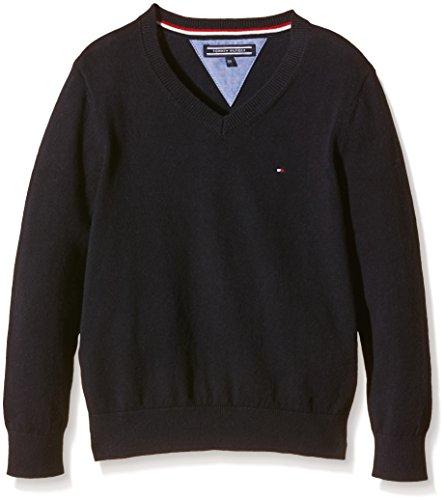 Tommy Hilfiger Jungen Pullover TOMMY VN SWEATER L/S, Gr. 98 (Herstellergröße: 3), Blau (Midnight 403)