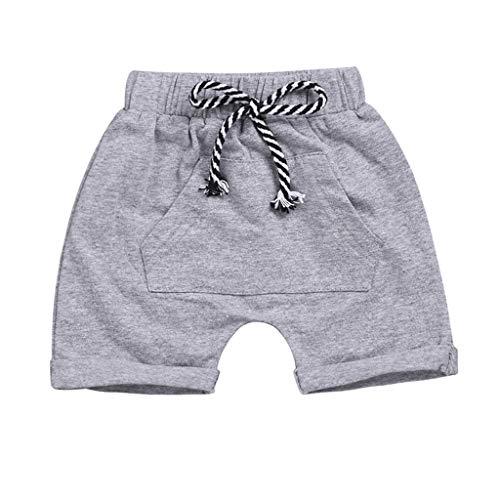 leinkind Kleidung Junge Mädchen lässig Tasche elastischer Gürtel Strand Shorts Sommer (1-4 Jahre alt)(120) ()