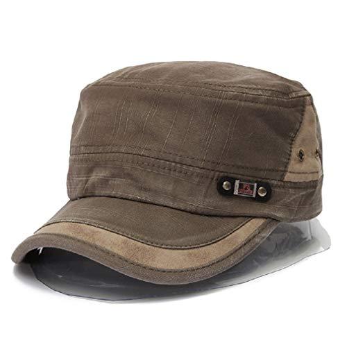 Gorra de béisbol - Gorra Militar - Vintage Washed Army Hat - Sombrero de cadete Plano Liso para Hombre y Mujer (Verde)