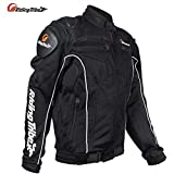 RIDING TRIBE Black Breathable Meshed Motorcycle Protective Riding Jacket (5 protective pads) (XL)