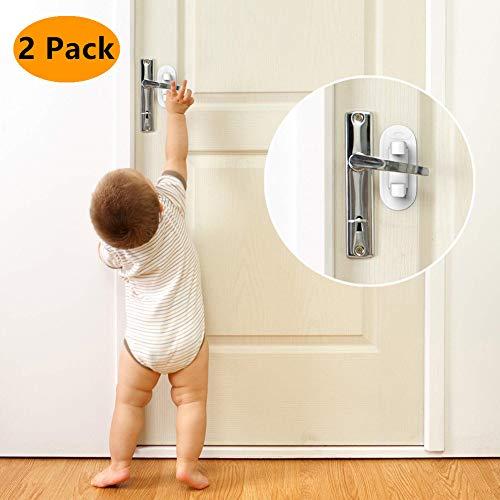 Türhebelschloss für Kinder/Haustiere, Babysicher, Türgriff, 3M-Klebeband, Kindersicherung, Türschloss für Haustür, Küche, Bad, Schlafzimmer (2 Packungen)