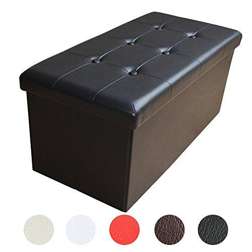 Stylehome® Sitzbank Sitzhocker Aufbewahrungsbox mit Stauraum faltbar belastbar bis 300 kg Kunstleder 76 x 38 x 38 cm (Schwarz)
