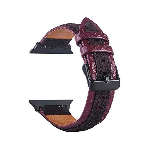 TianranRT Leder Handgelenk Uhr Strap Band Schnalle Gürtel Ersatz für IWatch Apple Watch (D, 42mm) -
