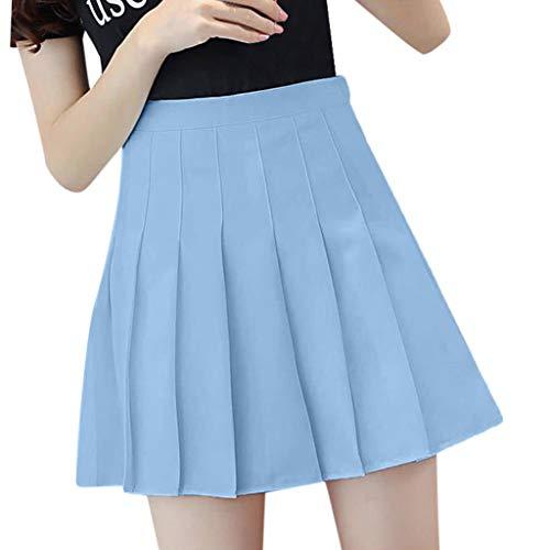 Preisvergleich Produktbild BHYDRY Damen Modisch und Hohe Taille Hohe Taille Lässiger Tennisrock(XX-Large, Himmelblau)