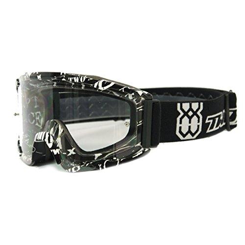 TWO-X BOMB Crossbrille MX Brille schwarz weiss Motocross Enduro Text Klarglas Motorradbrille Anti Scratch MX Schutzbrille