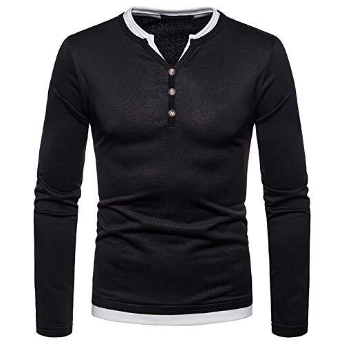 Zolimx Herren Winter Oberteil Männer Herbst Winter Casual Brushed V-Ausschnitt Langarm Button Shirt Top Bluse (Schwarz, XXL)
