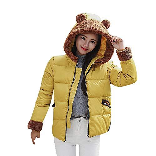 Damen Jacke Parka Mantel Winterjacke Warm gefüttert Luxus Wintermantel Kurz Daunenjacke mit Kapuze Outwear Einfarbig Casual Dickeren Locker...