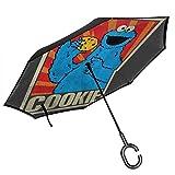 SES-Ame Paraguas invertido de Doble Capa con diseño de Monstruo soviético de Galletas, para el Reverso del Coche, Plegable, hacia Abajo, con Forma de C, Ligero y Resistente al Viento, Regalo Ideal