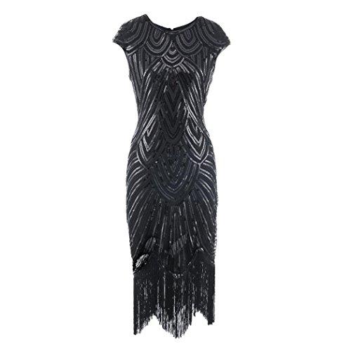 Amphia Damen Flapper Kleider Voller Pailletten Retro 1920er Jahre Stil V-Ausschnitt Great Gatsby Motto Party Damen (Schwarz, XL)