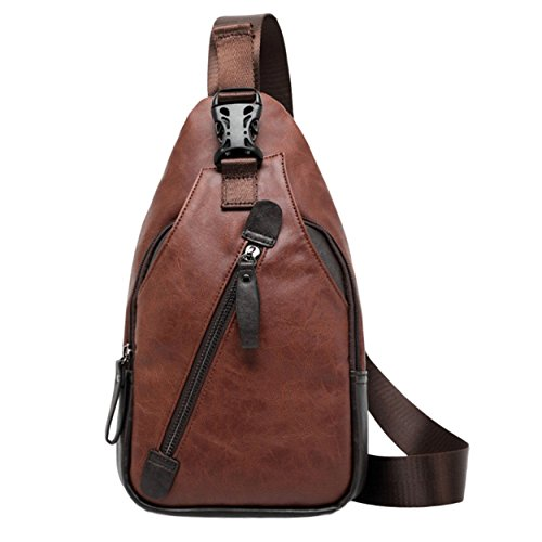 Herren Umhängetasche Crossbody Bag Brusttasche Chest Pack Sling Bag Messenger Bag PU-Kunstleder Urban Bag Style (Braun)