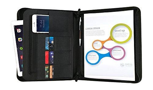 Conférencier classeur RFID zippé, organiseur a4 document professionnel, portfolio cuir noir – Rangement bureau porte-document, porte cartes de visite a4, papier de réunion, stylo, bloc-notes