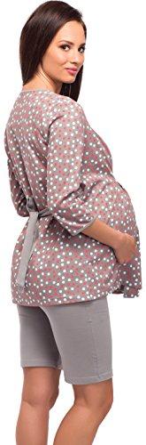 Be Mammy Vêtements Maternité Ensemble de Pyjama Alyse Gris/Points