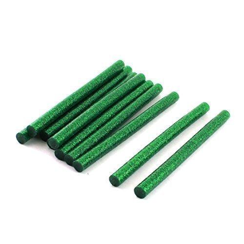 sourcingmap® 7mm x 100mm Verde Scuro Glitter Calda Sciogliere Colla Adesivo Adesivi 10 Pz