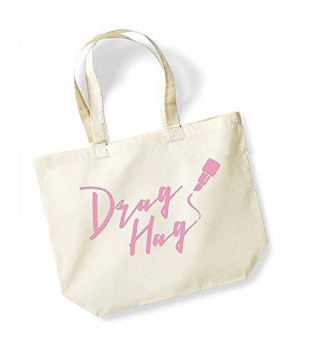 Drag Hag - Large Canvas Fun Slogan Tote Bag Natural/Pink