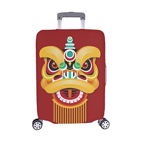 Chinesische löwenkopf Tanz Muster Spandex Staubschutz Trolley Protector case reisegepäck Schutz Koffer Abdeckung 28,5 x 20,5 Zoll
