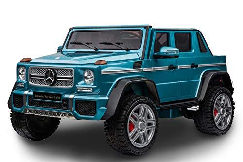 RIRICAR Elektroauto Kinder Mercedes-Benz Maybach G650, LCD-Bildschirm mit USB / TF-Eingang, 2,4-GHz-Fernbedienung, Batterie 2 x 12 V / 7AH, 4 X Motor, Doppel-Ledersitz, Eva-Räder, blau lackiert -