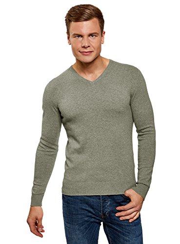oodji Ultra Herren Pullover Basic mit V-Ausschnitt, Grün, DE 50 / M