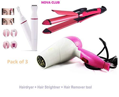 NOVA CLUB Club Hair Straightener N-2009 with Dryer, 1000 Watt with Hair Remover Tool (Pack of 3)