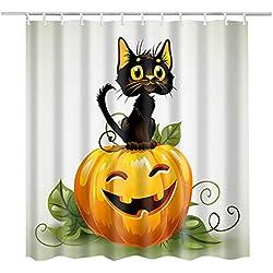 Luzoeo Cortina de Ducha Halloween Toussaint Intransparencia Duradera Anti-Molde Poliéster 180 x 180 cm Panel Impreso Baño Castillo Calabaza Gato 12 Gancho Incluido (Gato)