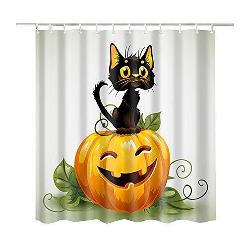Luzoeo Duschvorhang Bedruckt 3D-Design Natürlich Wasserdicht Anti-Schimmel Polyester Duschvorhänge Badewanne Print Schwarze Katze Kürbis 180x180 cm inkl 12pcs Haken