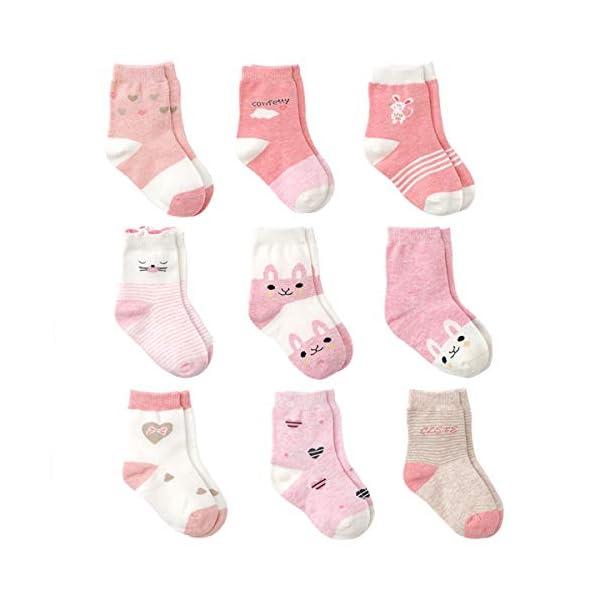Cotton Coming Rosa Algodón Niñas Calcetines Bebé,9 Pares Lindo adj. Bebé Calcetines Niña 1