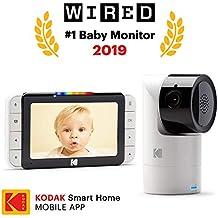 KODAK CHERISH Cámara Vigilabebe de alta definición con WiFi y App móvil, pulgadas, zoom, visión nocturna infrarrojos y conversación bidireccional