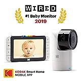 Baby monitor video KODAK CHERISH C525 app mobile — Telecamera WiFi Pan/Tilt/Zoom ad alta risoluzione, display HD da 5, audio bidirezionale, visione notturna, portata a lungo raggio