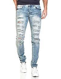 Sixth June - Jeans homme bleu clair slim destroy