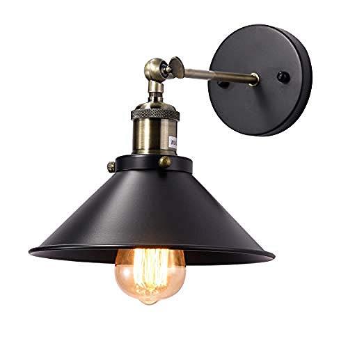 Schwarz Bauernhaus (Schwarze Schwanenhals-Wandleuchte 2 Stück Retro-Bauernhaus-Industriebeleuchtung Innen- / Außenbereich eisenmatter Lampenschirm E26 Sockel Wand-Nachttischlampe @ Schwarz Drehbar - 1 Pack)