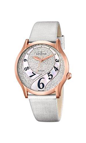 Candino-Orologio da donna al quarzo con Display analogico e cinturino in pelle bianco C4553/1