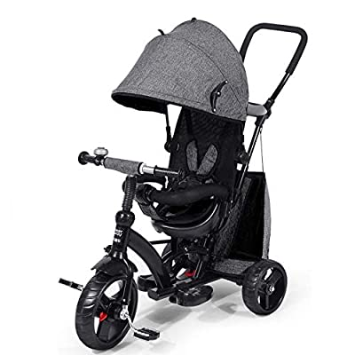 4 In 1 Children's Hand Push Tricycle 10 Months To 6 Years 360° Swivelling Saddle Children's Pedal Tricycle Folding Sun Canopy 5-Point Safety Belt Kids Tricycle Maximum Weight 25 Kg,Grey