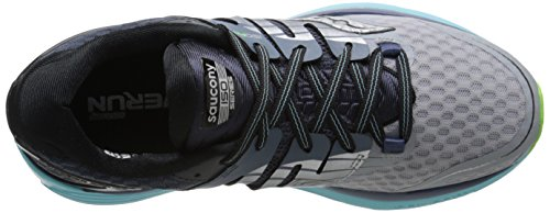Saucony Women's Triumph ISO 2 Running Shoe, Grey/Blue/Slime, 5.5 M US Grey/Blue/Slime