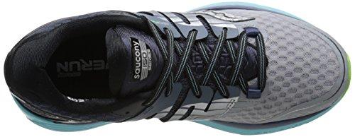 Saucony Women's Triumph ISO 2 Running Shoe, Grey/Blue/Slime, 5.5 M US Grey/Blue/Slime