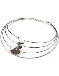 cc1431F–Collar ras del cuello Torque multi-rangs y ovalados Metal plateado–Mode Fantasía