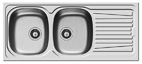 Lavello PYRAMIS 116x50 acciaio INOX lavandino 2 vasche SINISTRA con gocciolatoio lavabo e PILETTA 35