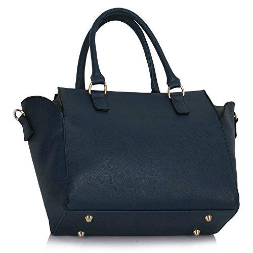 Damenhandtaschen Der Frauen Schulterbeutel Designer Neue Promi Stil Trage Groß (Lila Trage Bag1) Marine 2