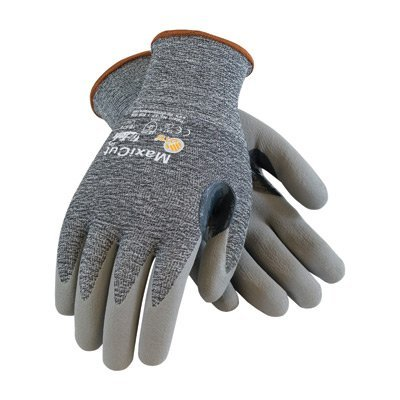 Protective Industrial Products Medium MaxiCut 3 By ATG Cut Resistant Gray Micro-Foam Nitrile Palm And Fingertip Coated Work Gloves With Gray Seamless Glass, Polyester, Lycra And Nylon Liner And Continuous Knit Cuff by Protective Industrial Products