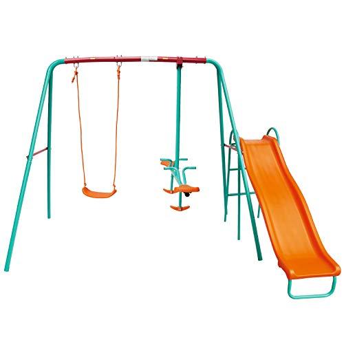 Yorbay 3-in-1 Outdoor Schaukelgestell Kinderschaukel Gartenschaukel, mit Brettschaukel + Schaukelwippe + Rutsche, Belastbarkeit bis 135 kg