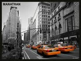 PLAQUE METAL 20X15cm NEW YORK MANATHAN TAXI NEWYORKAIS