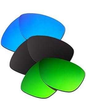 Hkuco Plus Mens Replacement Lenses For Oakley Jupiter Blue/Black/Emerald Green Sunglasses