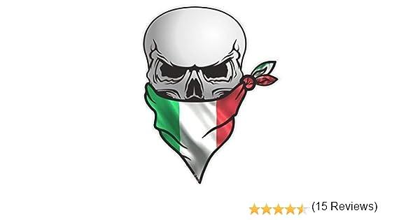 Biker Gotico teschio pirata con la faccia BANDANA Italia Italiano il Bandiera Tricolore Motivo Vinile Auto Moto Adesivo Decalcomania 110x85mm by CTD