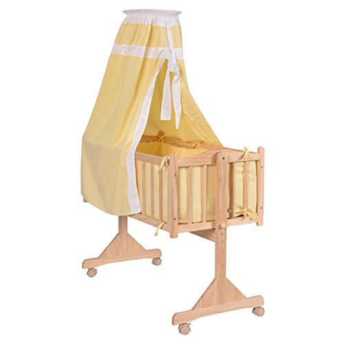 Babybett Stubenwagen Babywiege Beistellbett Wiegenset Schaukelwiege Kinderbett Komplettwiegenset + 9 tlg. Zubehör (gelb) (Stubenwagen Schaukeln)