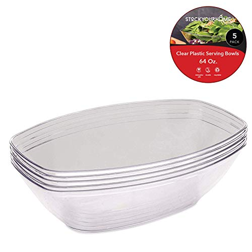 110 g. Transparente Kunststoff-Servierschalen (5 Stück) ovale Einweg-Servierschalen für Partys - große Kunststoffschalen für Salat, Snacks, Chips, Brezeln, Süßigkeiten Salat-chip