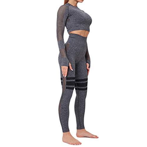 Momoxi Zweiteilig Sportanzug Damen Einfarbig Nahtlose Eng Anliegende Hüfte Heben mit Langen Ärmeln Fitness Hose Slim Fit Laufen Für Sport