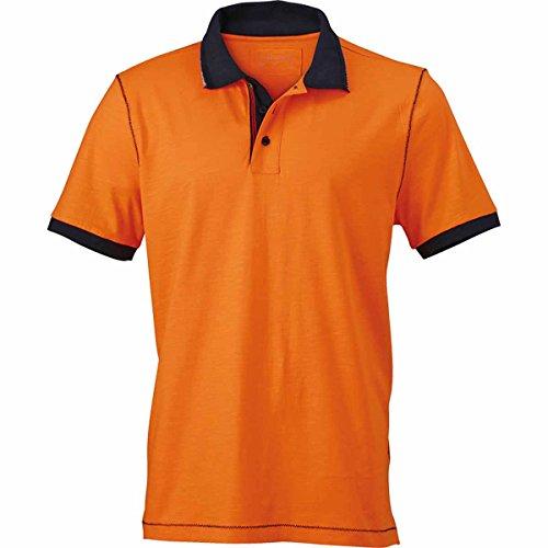 JAMES & NICHOLSON Herren Poloshirt, Einfarbig orange et bleu marine
