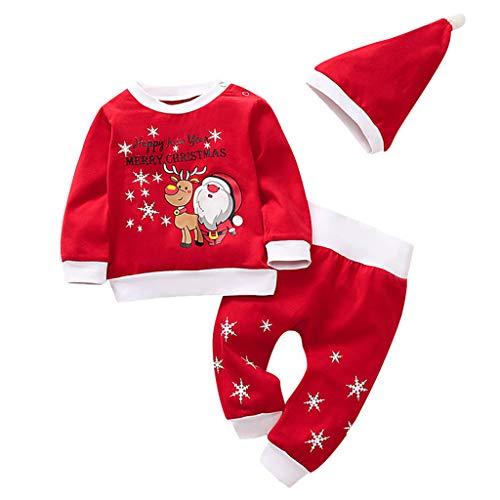 D'halloween Garcon Kostüm - Cyeer Weihnachten Baby Mädchen Jungen Red Romper mit Streifen Hosen und Hut 3Pcs Newborn Outfit Set by (80)