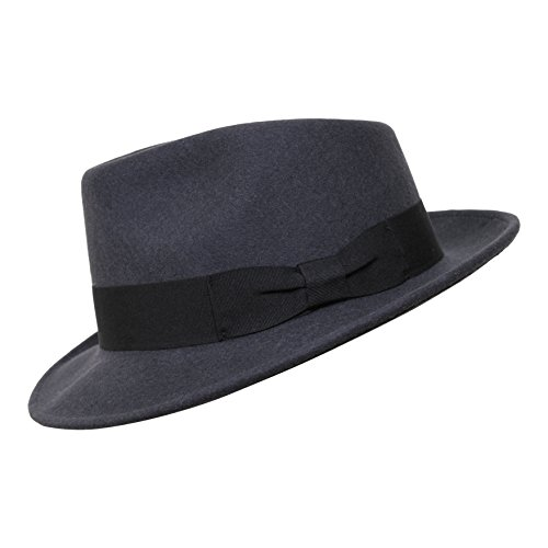 3085ea01e Borges & Scott B&S Premium Doyle - Teardrop Fedora Hat - 100% Wool Felt -  Crushable For Travel - Water Resistant - Unisex - Dark Grey 56