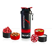FrontRunner Fitness The Refuel Shaker - Hungry Wolf Series - Protein Shaker - Water Bottle - 800mL (Fire Red)