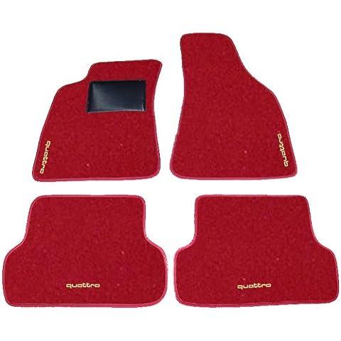 AVANT AUDI A4 QUATTRO de 2000 a 2004, alfombrillas de coche, color negro, rojo y Battitacco Juego completo de alfombras Alfombrillas a medida de hilo para bordar beige